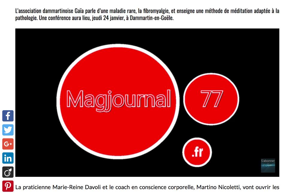 Sur MAGJOURNAL77 un entretien avec Martino Nicoletti sur la fibromyalgie, la méditation avec le corps et la conscience corporelle